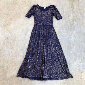 Lularoe Ana Elegant Maxi Dress Navy Gold M